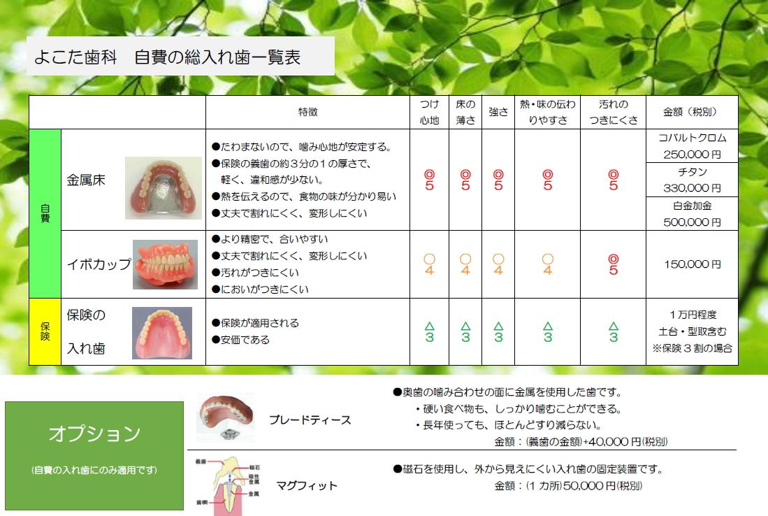 自費の入れ歯 一覧表2